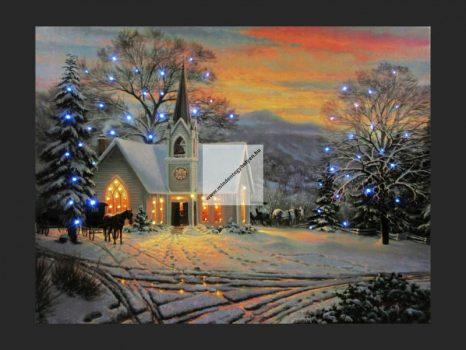 60 mini LEDes falikép templom+ló 40x30cm