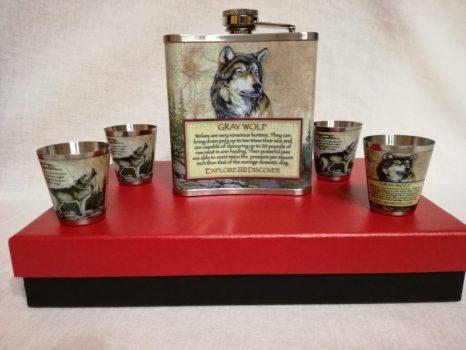 Fém flaska  szett farkas